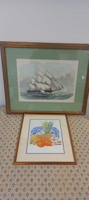 Lot 33 - A framed still-life watercolour signed Gill,...