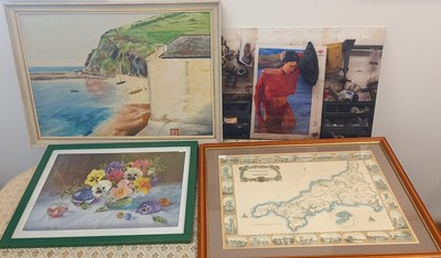 Lot 42 - A framed reproduction of a historical map of...