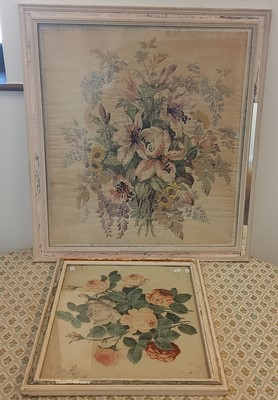 Lot 43 - Two appliqued floral fabric panels, each...