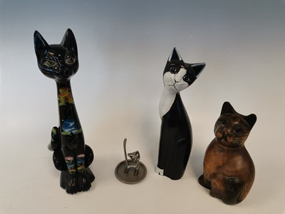 Lot 14 - A vintage decorated ceramic cat, along with...
