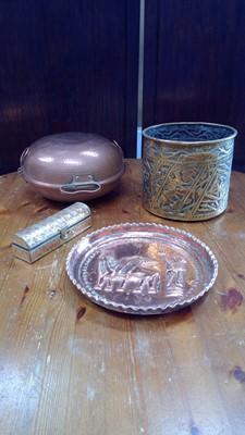 Lot 57 - A copper Portuguese cataplana, brass...