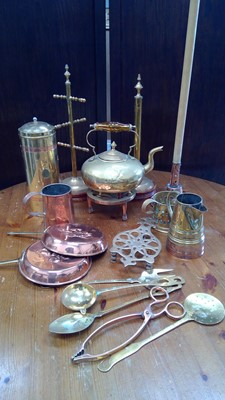 Lot 59 - Brass kettle, and various other brass and copper.