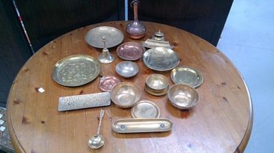 Lot 60 - Brass ink stand, various copper wares and brass.
