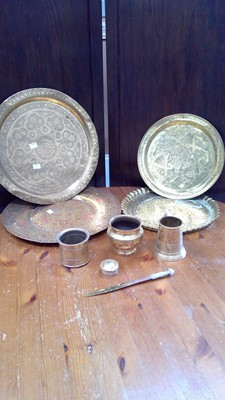 Lot 61 - Brass Carioware charger, and other middle...