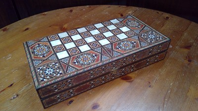 Lot 64 - An Indian inlaid backgammon chest with...