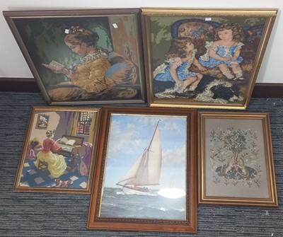 Lot 67 - Four needlepoint tapestries, three showing...