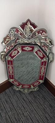 Lot 69 - A Venetian etched glass mirror, 77cm x 44cm.