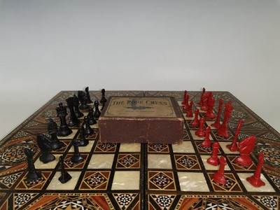 Lot 81 - A vintage full set 'The Rose Chess' lead chess...