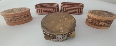 Lot 92 - Two birch bark boxes, together with two rattan...