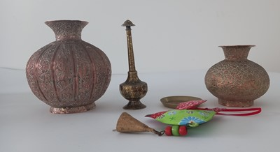 Lot 93 - Handmade Indian repousse vases and other...