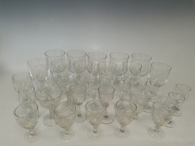 Lot 82 - A box containing and etched glass glasses.