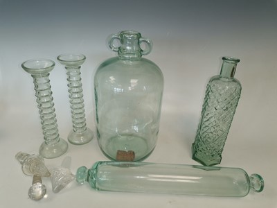 Lot 88 - A green glass demijohn, a pair of candlestick...