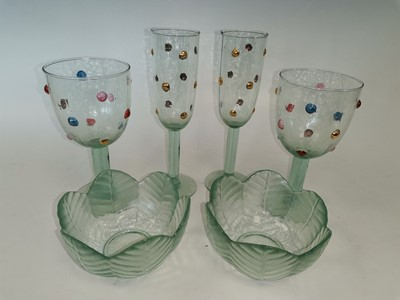 Lot 89 - Four decorated textured glasses with two leaf...