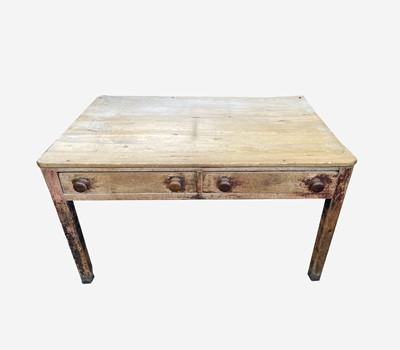 Lot 28 - A Victorian pine kitchen table, the...