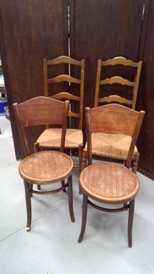 Lot 22 - Two bentwood chairs, along with two ladder...