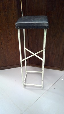 Lot 24 - Painted industrial work stool. 85cm tall by 27cm.