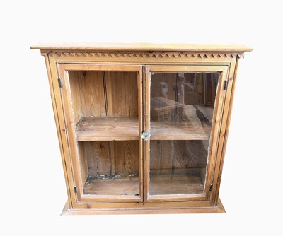 Lot 90 - A Victorian pine hanging wall cabinet, height...