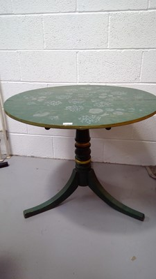 Lot 19 - A painted circular table, height 70cm diameter...