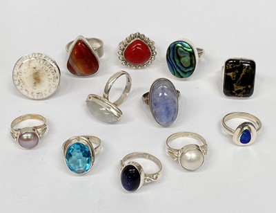 Lot 6 - Various stone set silver rings.