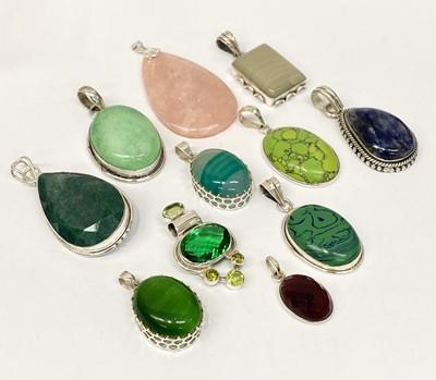Lot 8 - Various stone set silver pendants.