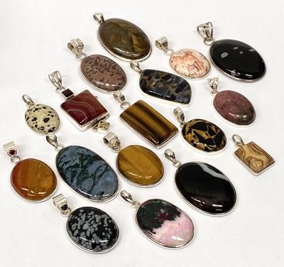 Lot 9 - Various stone set silver pendants.