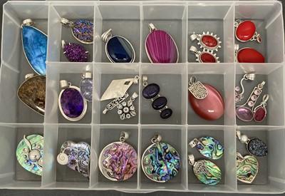 Lot 10 - Various stone set pendants etc, mostly marked...