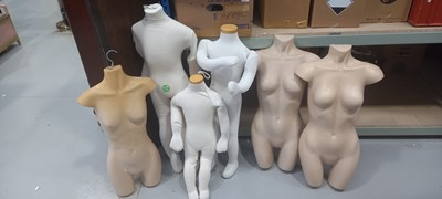 Lot 20 - Three plastic mannequins, together with foam...