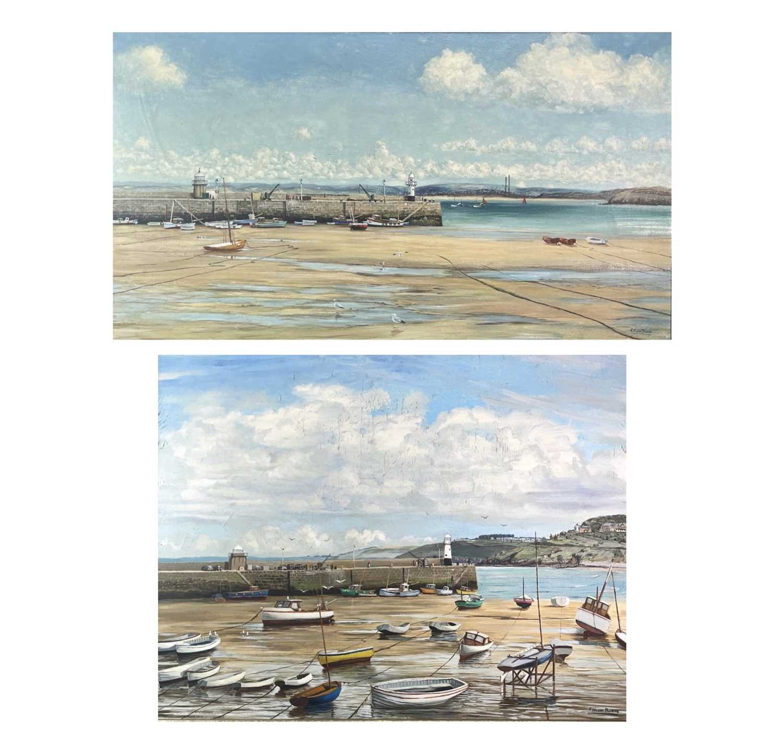 Lot 332 - R WILSON BURNS St Ives Harbour Two oils on...