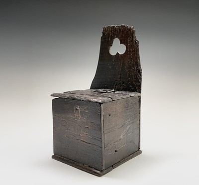 Lot 94 - An oak salt box, 17th century, with a hinged...