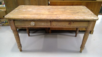 Lot 2 - Victorian pine kitchen side table with two...