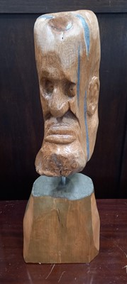 Lot 11 - A carved wooden head on stand, believed to be...