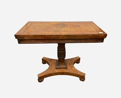Lot 34 - A rare George IV burr yew wood veneered fold...