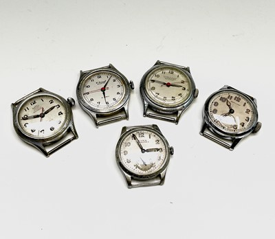 Lot 54 - Five nickel-plated military-style wristwatches,...