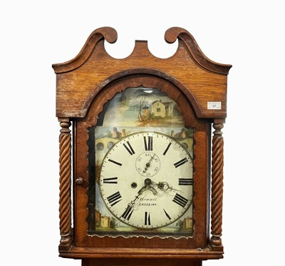 Lot 37 - An oak and eight day longcase clock, early...