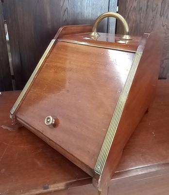 Lot 4 - A late Victorian mahogany brass bound coal box