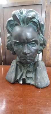 Lot 3 - A plaster cast bust of Ludwig Van Beethoven,...