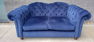 Lot 1 - A 'Joules' navy blue Chesterfield style sofa,...