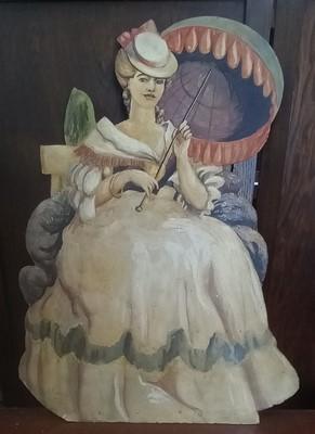 Lot 13 - A crinoline lady painted dummy board, signed J...