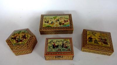 Lot 2 - A Persian khatam style box with miniature...