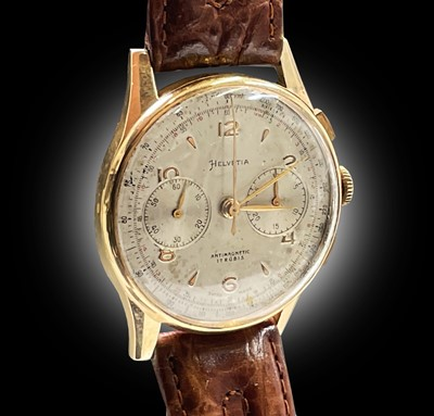 Lot 39 - An Helvetia 18ct gold cased chronograph...