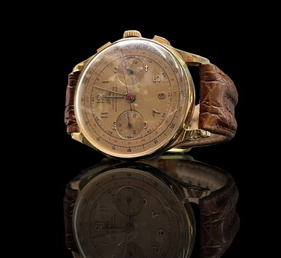 Lot 31 - An Egona 18ct gold chronograph wristwatch with...