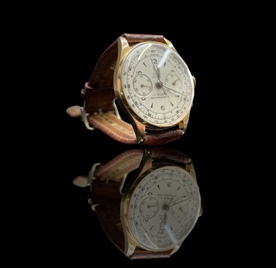Lot 64 - A Titus Geneve 18ct gold chronograph...