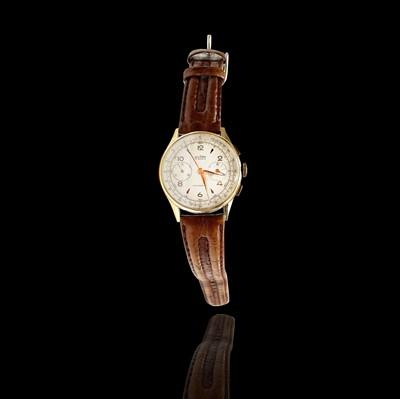 Lot 78 - A Delbana 18ct gold chronograph wristwatch...