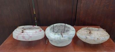 Lot 10 - Three art deco glass 'fly-catcher' lightshades