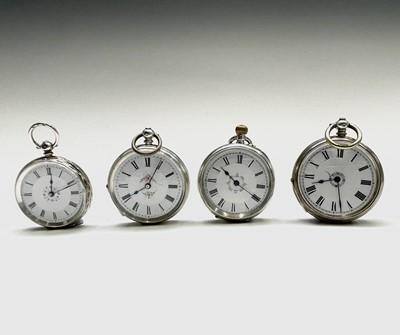 Lot 13 - Four silver open face small pocket watches,...