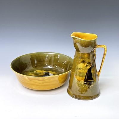 Lot 822 - A Royal Doulton jug and bowl set, both painted...