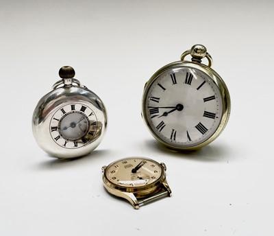 Lot 30 - A small silver half-hunter cased pocket watch...