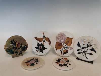 Lot 18 - Vintage Indian marble coasters with inlay...