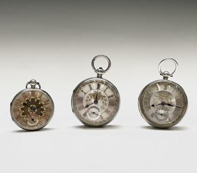 Lot 75 - Three Victorian key wind silver pocket watches....