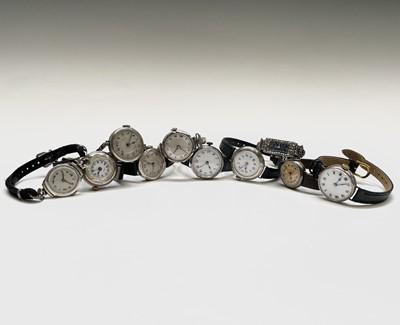 Lot 47 - Ten ladies silver cased wristwatches. Phillip...